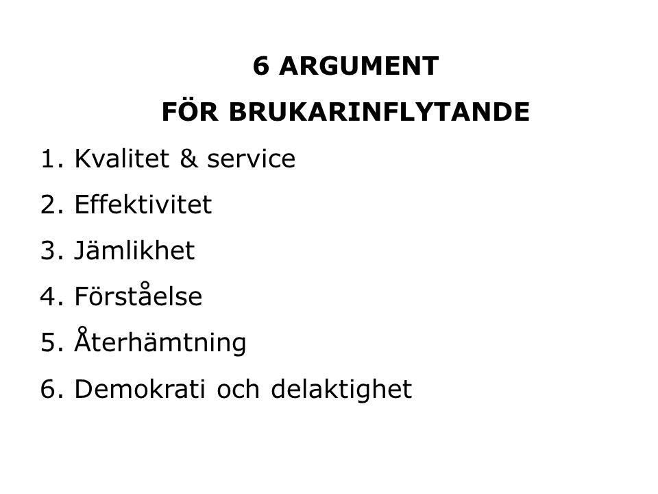 6 ARGUMENT FÖR BRUKARINFLYTANDE 1. Kvalitet & service 2.