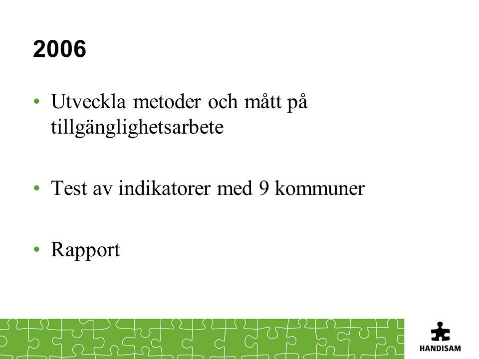 2006 Utveckla metoder och mått på tillgänglighetsarbete Test av indikatorer med 9 kommuner Rapport