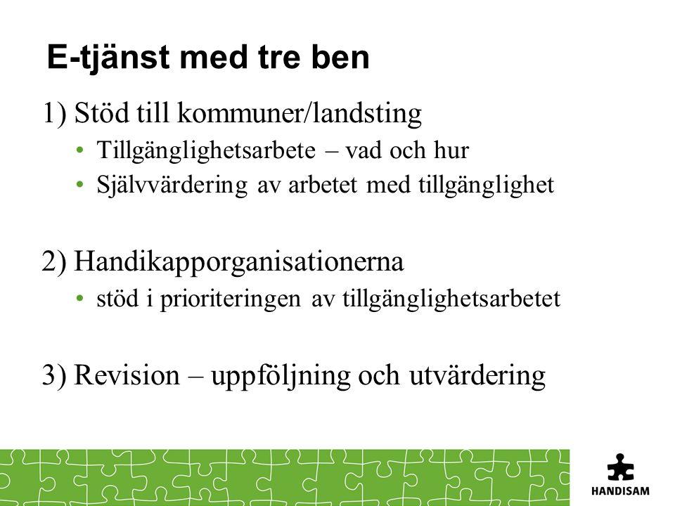 E-tjänst med tre ben 1) Stöd till kommuner/landsting Tillgänglighetsarbete – vad och hur Självvärdering av arbetet med tillgänglighet 2) Handikapporga