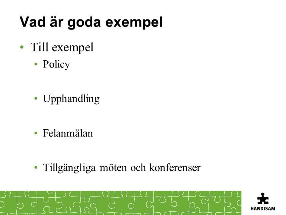 Vad är goda exempel Till exempel Policy Upphandling Felanmälan Tillgängliga möten och konferenser