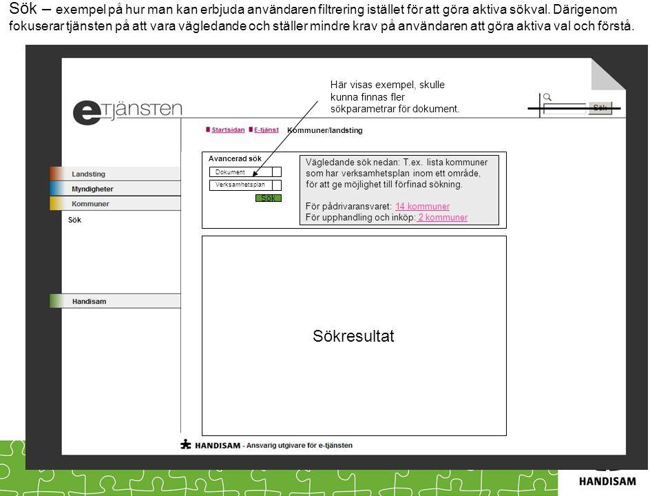 Kommuner/landsting Sök – exempel på hur man kan erbjuda användaren filtrering istället för att göra aktiva sökval. Därigenom fokuserar tjänsten på att