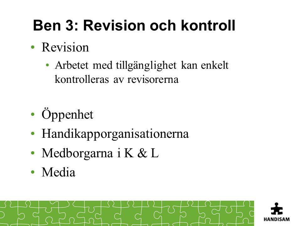 Ben 3: Revision och kontroll Revision Arbetet med tillgänglighet kan enkelt kontrolleras av revisorerna Öppenhet Handikapporganisationerna Medborgarna