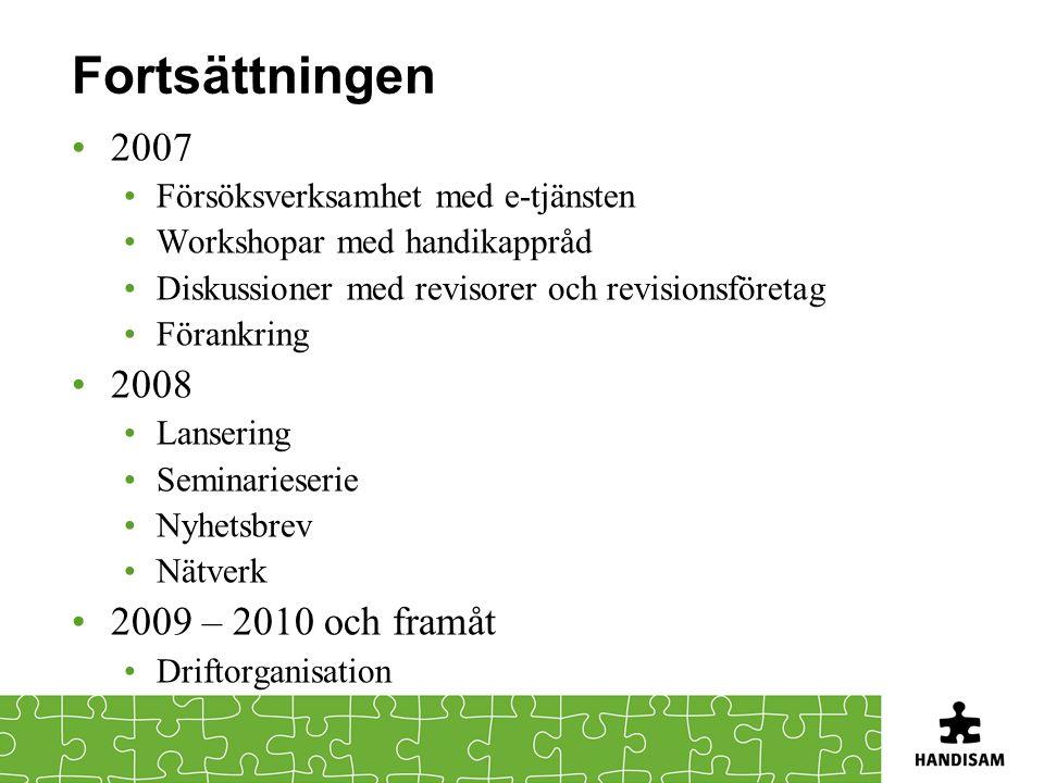Fortsättningen 2007 Försöksverksamhet med e-tjänsten Workshopar med handikappråd Diskussioner med revisorer och revisionsföretag Förankring 2008 Lanse