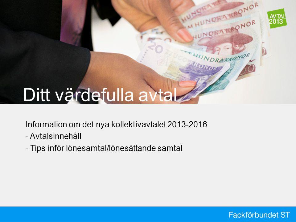 Ditt värdefulla avtal Information om det nya kollektivavtalet 2013-2016 - Avtalsinnehåll - Tips inför lönesamtal/lönesättande samtal