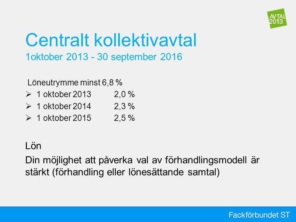 Centralt kollektivavtal 1oktober 2013 - 30 september 2016 Löneutrymme minst 6,8 %  1 oktober 2013 2,0 %  1 oktober 20142,3 %  1 oktober 2015 2,5 % Lön Din möjlighet att påverka val av förhandlingsmodell är stärkt (förhandling eller lönesättande samtal)