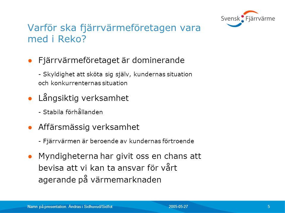 2005-05-27 Namn på presentation.Ändras i Sidhuvud/Sidfot 6 Vad ska fjärrvärmeföretaget göra.