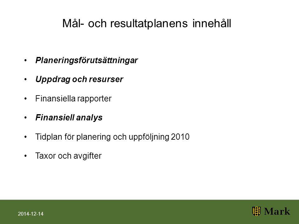 Mål- och resultatplanens innehåll Planeringsförutsättningar Uppdrag och resurser Finansiella rapporter Finansiell analys Tidplan för planering och upp