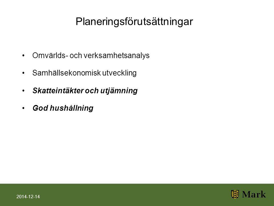 Planeringsförutsättningar Omvärlds- och verksamhetsanalys Samhällsekonomisk utveckling Skatteintäkter och utjämning God hushållning 2014-12-14