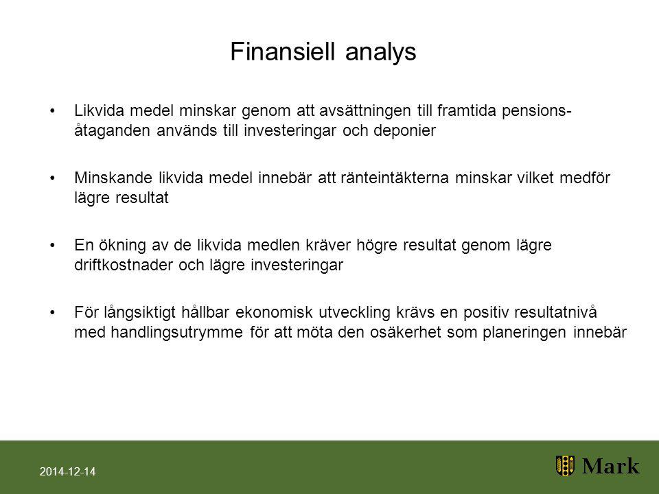 Finansiell analys Likvida medel minskar genom att avsättningen till framtida pensions- åtaganden används till investeringar och deponier Minskande lik