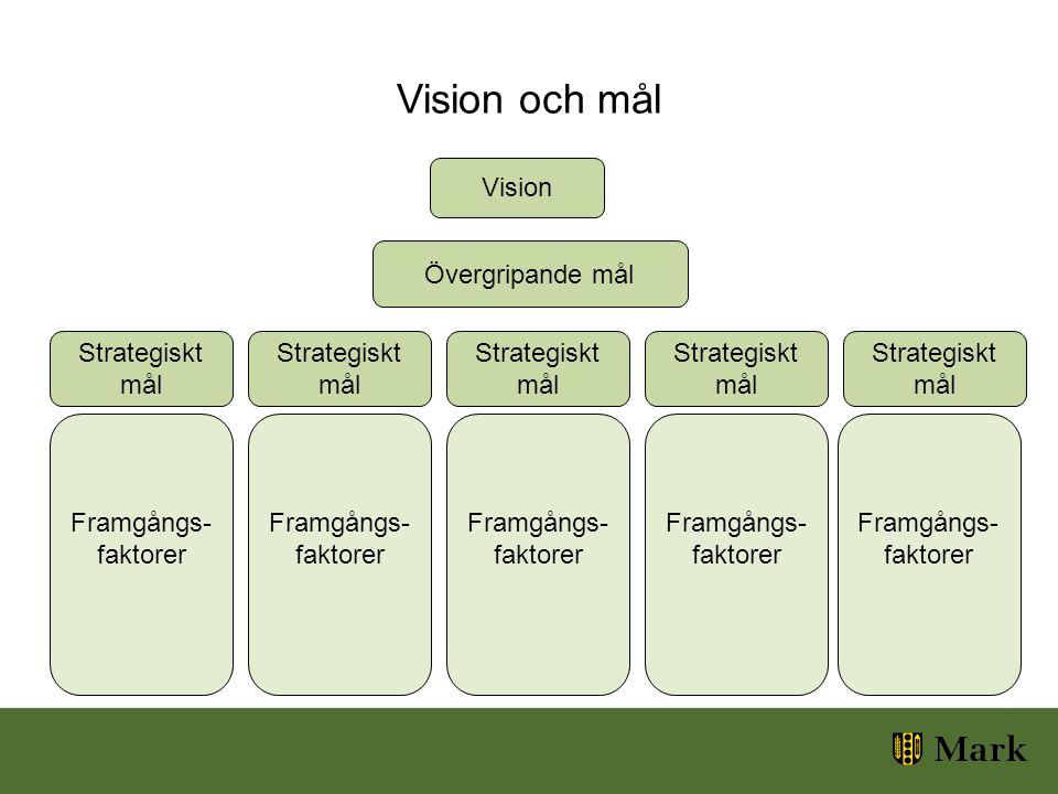 Vision och mål Vision Framgångs- faktorer Framgångs- faktorer Framgångs- faktorer Framgångs- faktorer Framgångs- faktorer Övergripande mål Strategiskt