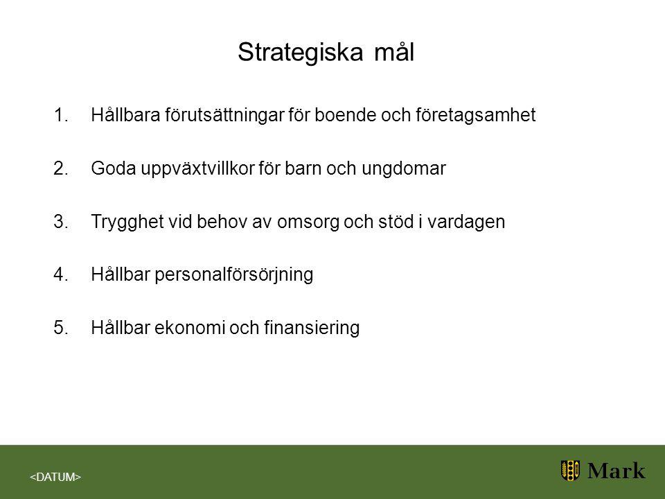 Strategiska mål 1.Hållbara förutsättningar för boende och företagsamhet 2.Goda uppväxtvillkor för barn och ungdomar 3.Trygghet vid behov av omsorg och