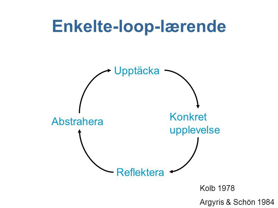 Upptäcka Konkret upplevelse Abstrahera Reflektera Enkelte-loop-lærende Kolb 1978 Argyris & Schön 1984