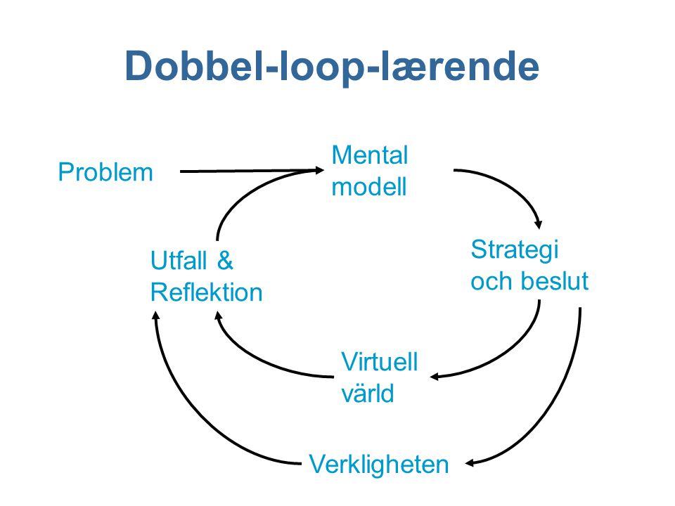 Mental modell Strategi och beslut Utfall & Reflektion Virtuell värld Problem Verkligheten Dobbel-loop-lærende