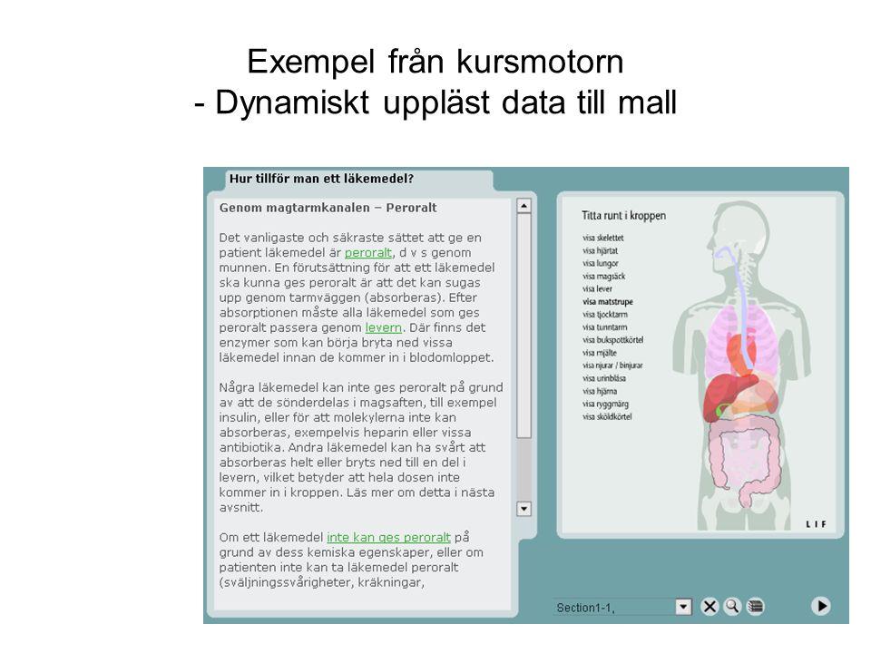 Exempel från kursmotorn - Dynamiskt uppläst data till mall