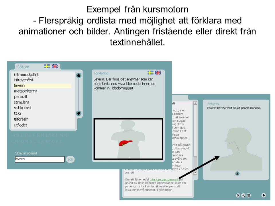 Exempel från kursmotorn - Flerspråkig ordlista med möjlighet att förklara med animationer och bilder. Antingen fristående eller direkt från textinnehå