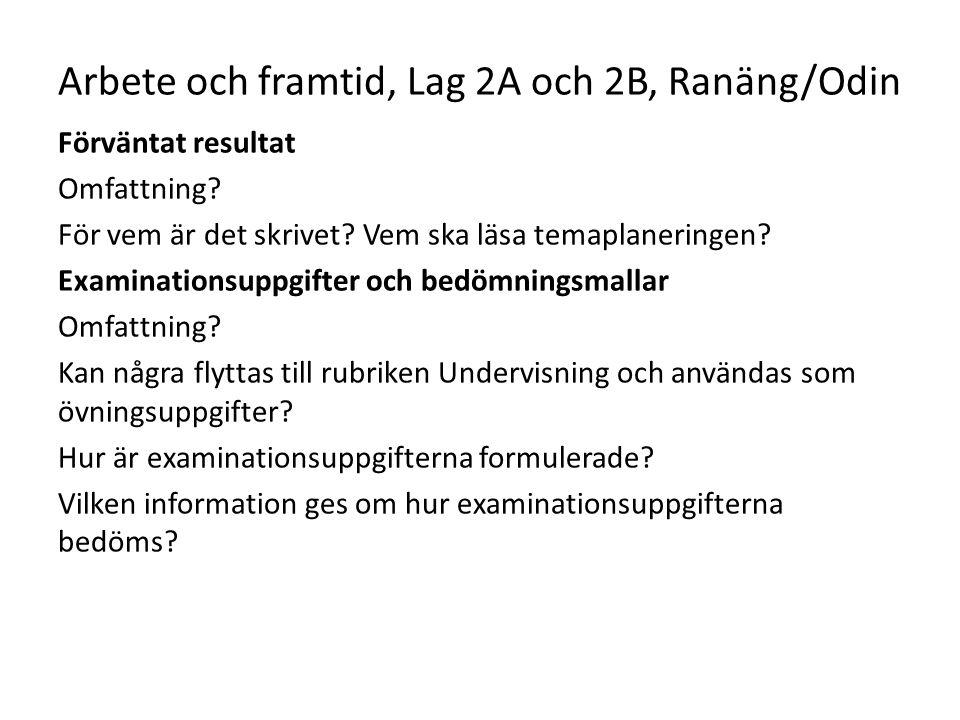 Arbete och framtid, Lag 2A och 2B, Ranäng/Odin Förväntat resultat Omfattning? För vem är det skrivet? Vem ska läsa temaplaneringen? Examinationsuppgif