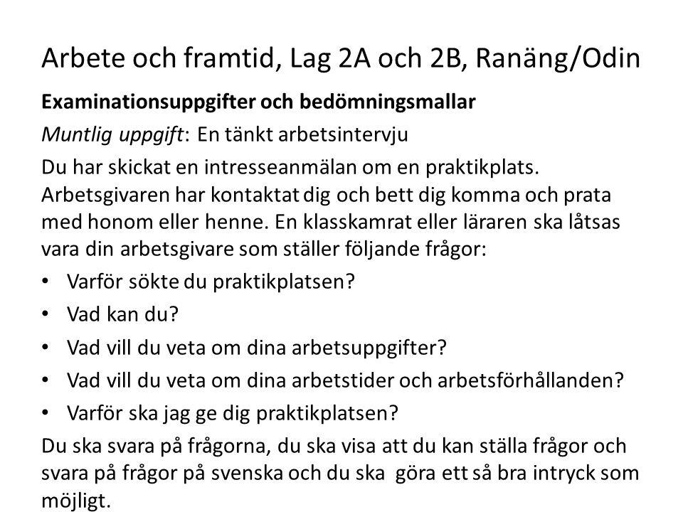 Arbete och framtid, Lag 2A och 2B, Ranäng/Odin Examinationsuppgifter och bedömningsmallar Muntlig uppgift: En tänkt arbetsintervju Du har skickat en i