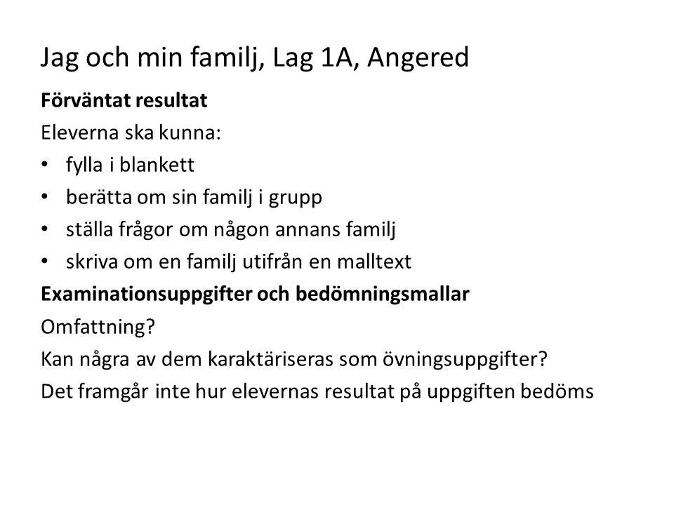Jag och min familj, Lag 1A, Angered Förväntat resultat Eleverna ska kunna: fylla i blankett berätta om sin familj i grupp ställa frågor om någon annan