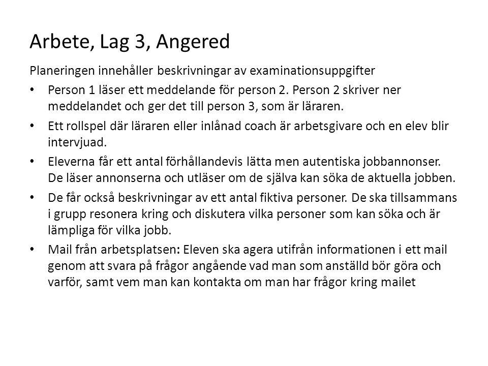 Arbete, Lag 3, Angered Planeringen innehåller beskrivningar av examinationsuppgifter Person 1 läser ett meddelande för person 2. Person 2 skriver ner