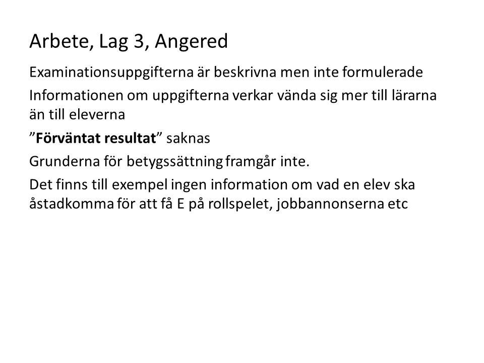 Arbete, Lag 3, Angered Examinationsuppgifterna är beskrivna men inte formulerade Informationen om uppgifterna verkar vända sig mer till lärarna än til