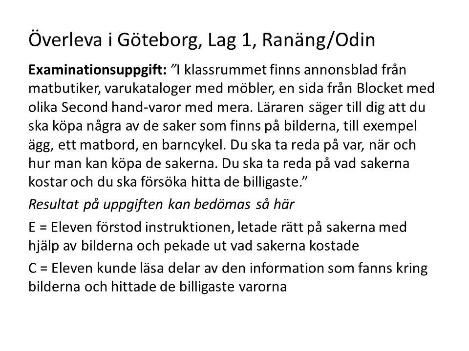 """Överleva i Göteborg, Lag 1, Ranäng/Odin Examinationsuppgift: """"I klassrummet finns annonsblad från matbutiker, varukataloger med möbler, en sida från B"""