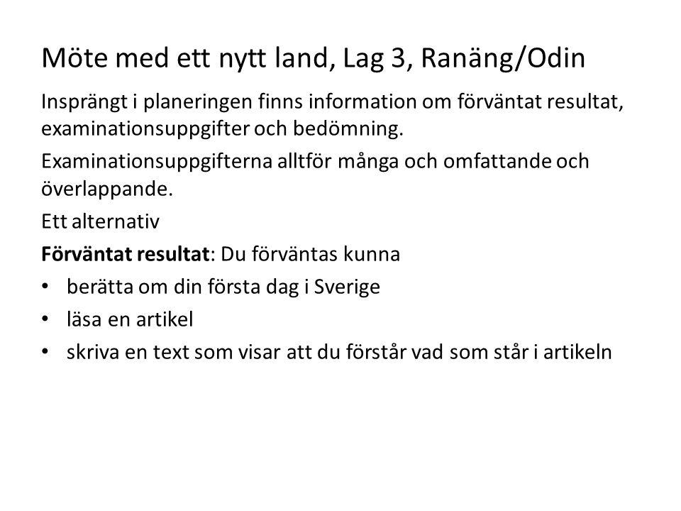 Möte med ett nytt land, Lag 3, Ranäng/Odin Insprängt i planeringen finns information om förväntat resultat, examinationsuppgifter och bedömning. Exami