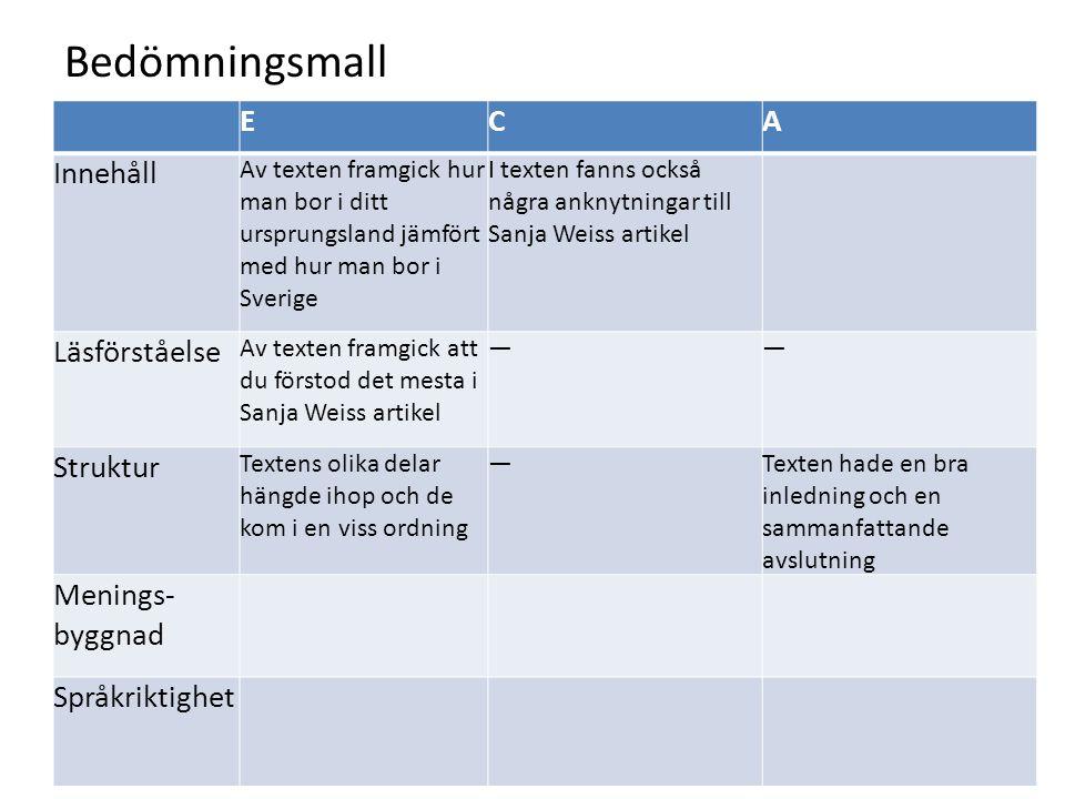 Bedömningsmall ECA Innehåll Av texten framgick hur man bor i ditt ursprungsland jämfört med hur man bor i Sverige I texten fanns också några anknytnin