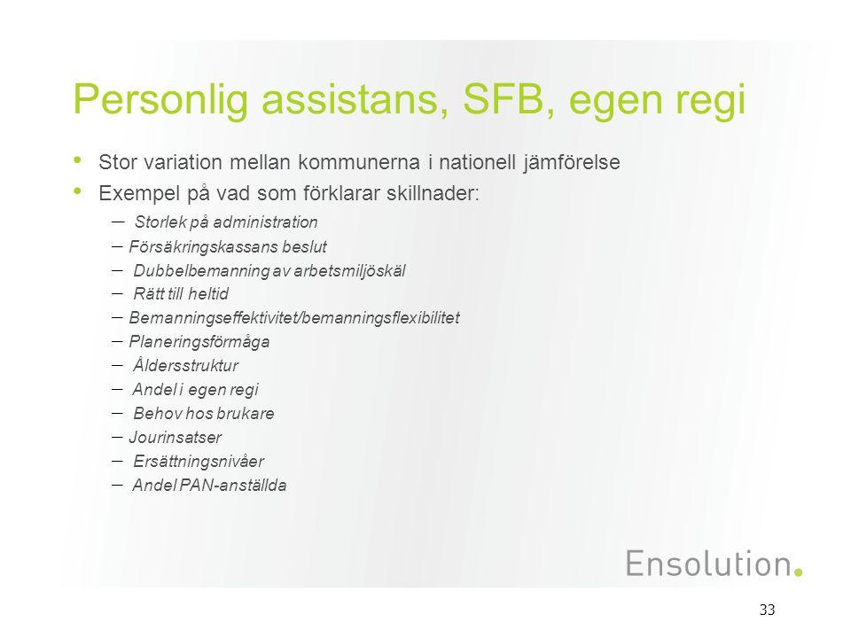 33 Personlig assistans, SFB, egen regi Stor variation mellan kommunerna i nationell jämförelse Exempel på vad som förklarar skillnader: – Storlek på a