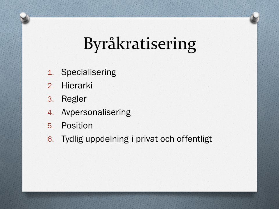 Byråkratisering 1. Specialisering 2. Hierarki 3. Regler 4. Avpersonalisering 5. Position 6. Tydlig uppdelning i privat och offentligt