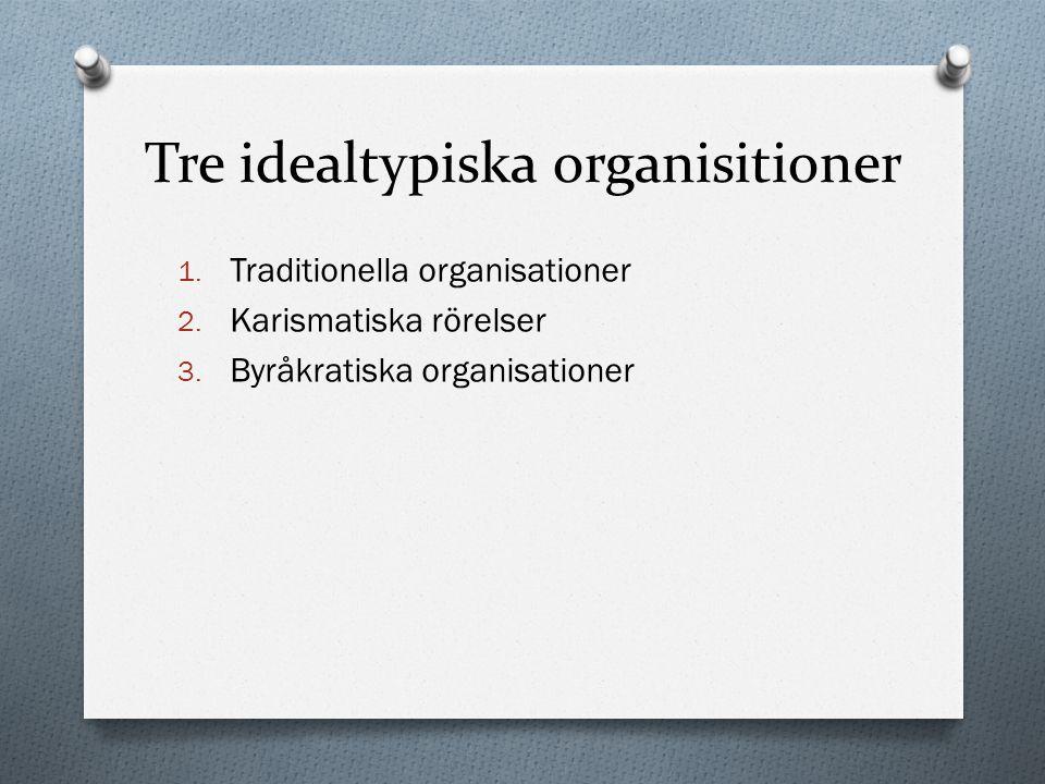 Tre idealtypiska organisitioner 1. Traditionella organisationer 2. Karismatiska rörelser 3. Byråkratiska organisationer