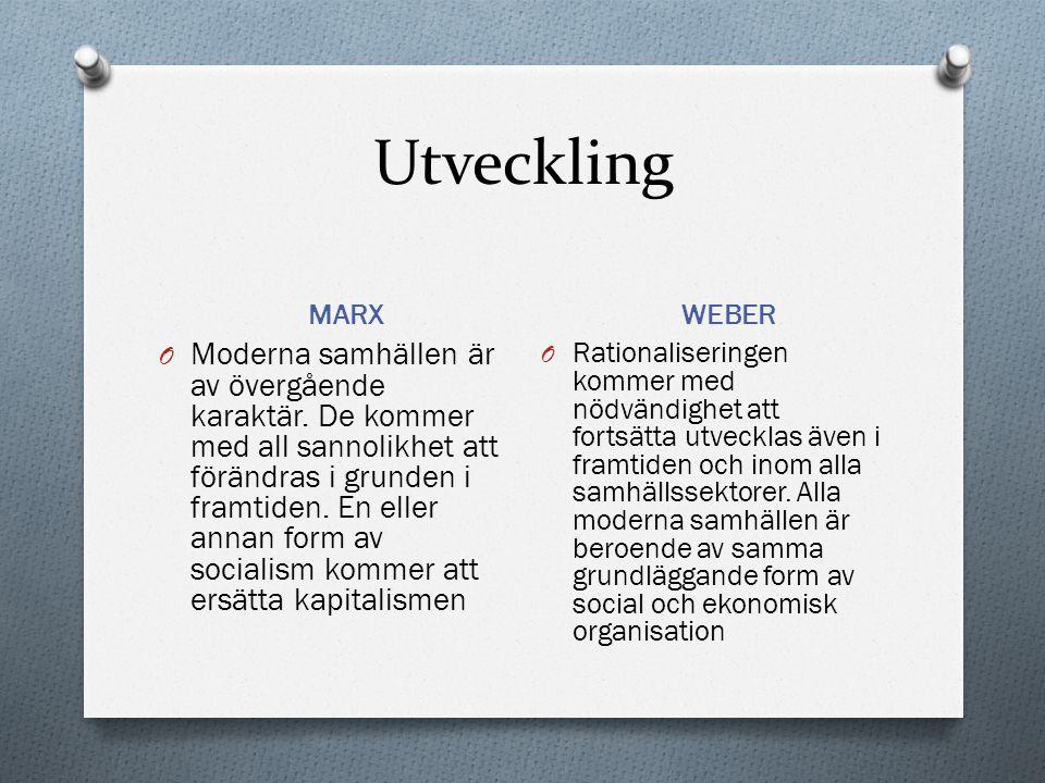 Utveckling MARX WEBER O Moderna samhällen är av övergående karaktär. De kommer med all sannolikhet att förändras i grunden i framtiden. En eller annan