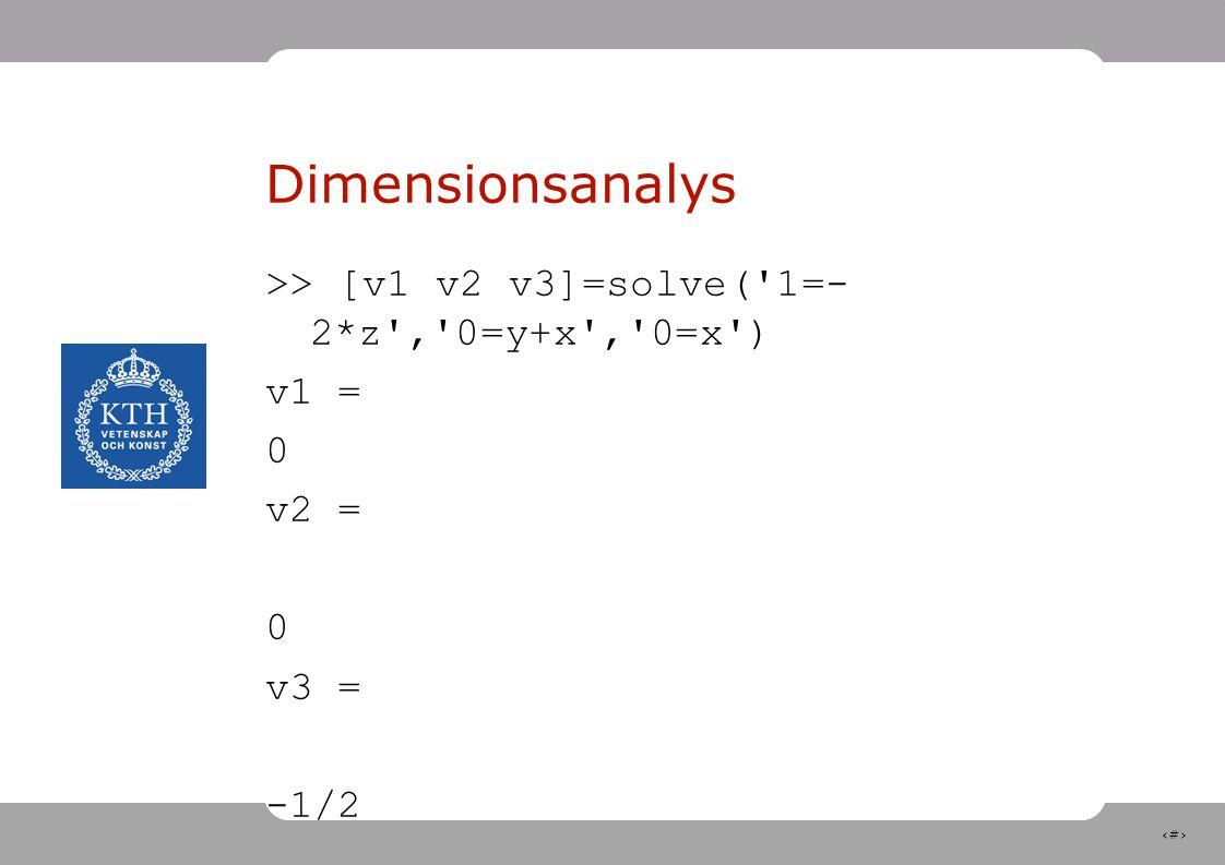 11 Dimensionsanalys >> [v1 v2 v3]=solve('1=- 2*z','0=y+x','0=x') v1 = 0 v2 = 0 v3 = -1/2