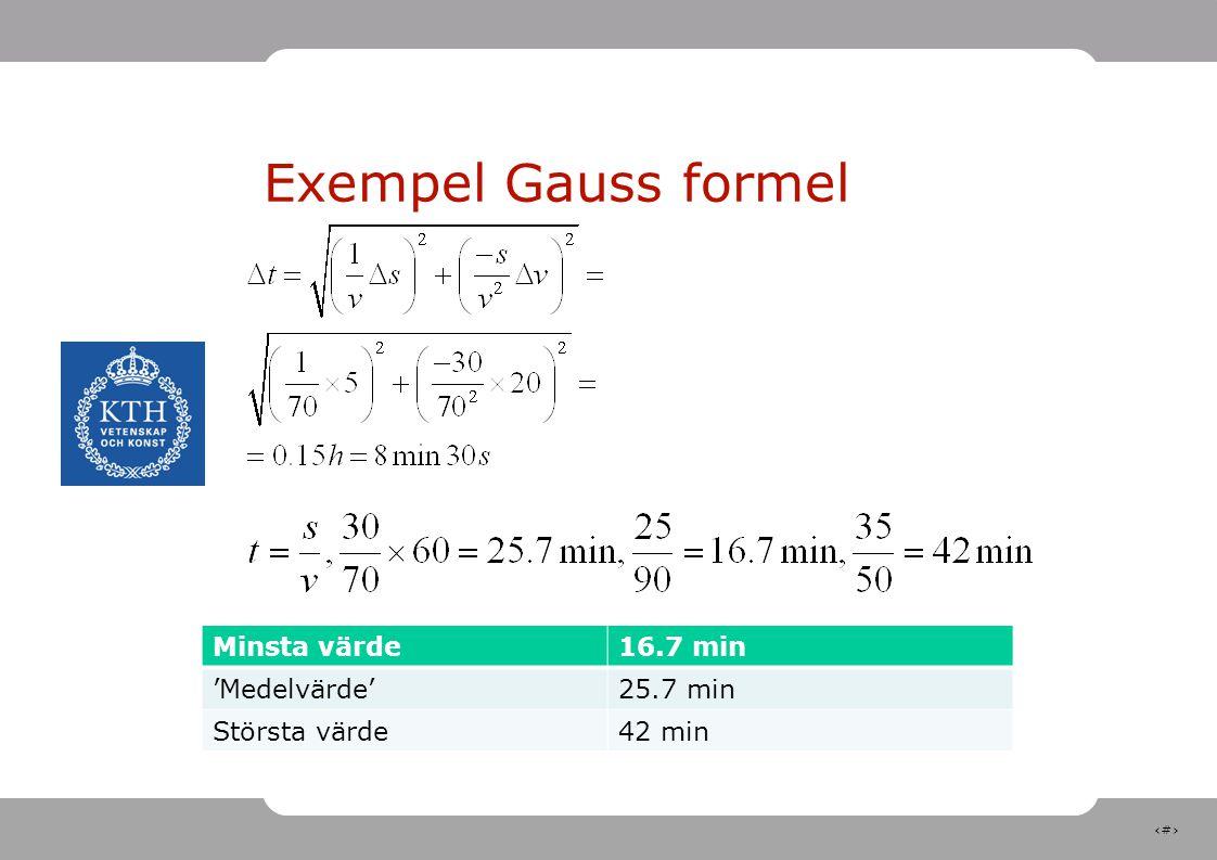 15 Exempel Gauss formel Minsta värde16.7 min 'Medelvärde'25.7 min Största värde42 min
