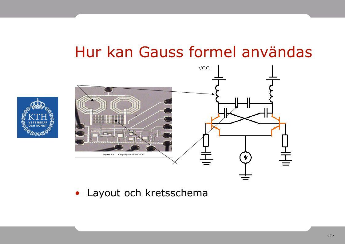 21 Hur kan Gauss formel användas Layout och kretsschema Spolar Kondensatorer