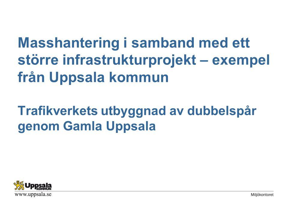 Trafikverkets utbyggnad av dubbelspår genom Gamla Uppsala Syfte med presentationen: Beskriva några frågeställningar inom masshantering vi har ställts inför i ett stort infrastrukturprojekt.