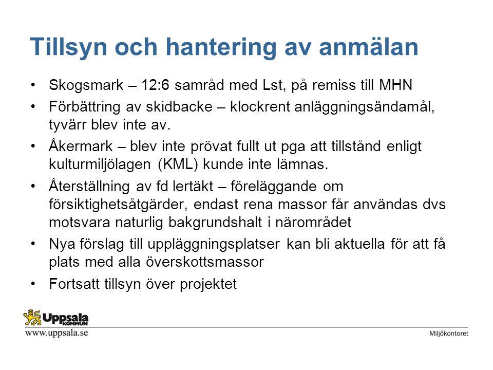 Tillsyn och hantering av anmälan Skogsmark – 12:6 samråd med Lst, på remiss till MHN Förbättring av skidbacke – klockrent anläggningsändamål, tyvärr blev inte av.