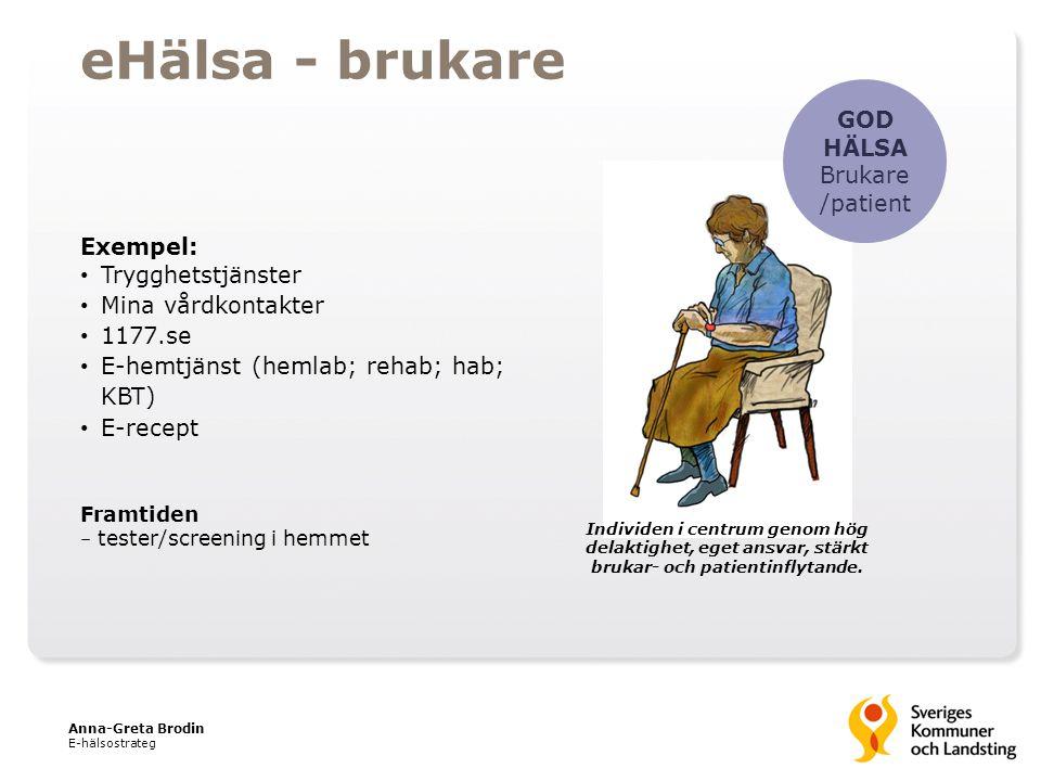 GOD HÄLSA Brukare /patient Exempel: Trygghetstjänster Mina vårdkontakter 1177.se E-hemtjänst (hemlab; rehab; hab; KBT) E-recept Framtiden – tester/scr