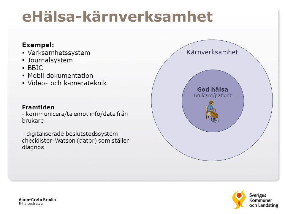 God hälsa Brukare/patient Kärnverksamhet eHälsa-kärnverksamhet Exempel:  Verksamhetssystem  Journalsystem  BBIC  Mobil dokumentation  Video- och