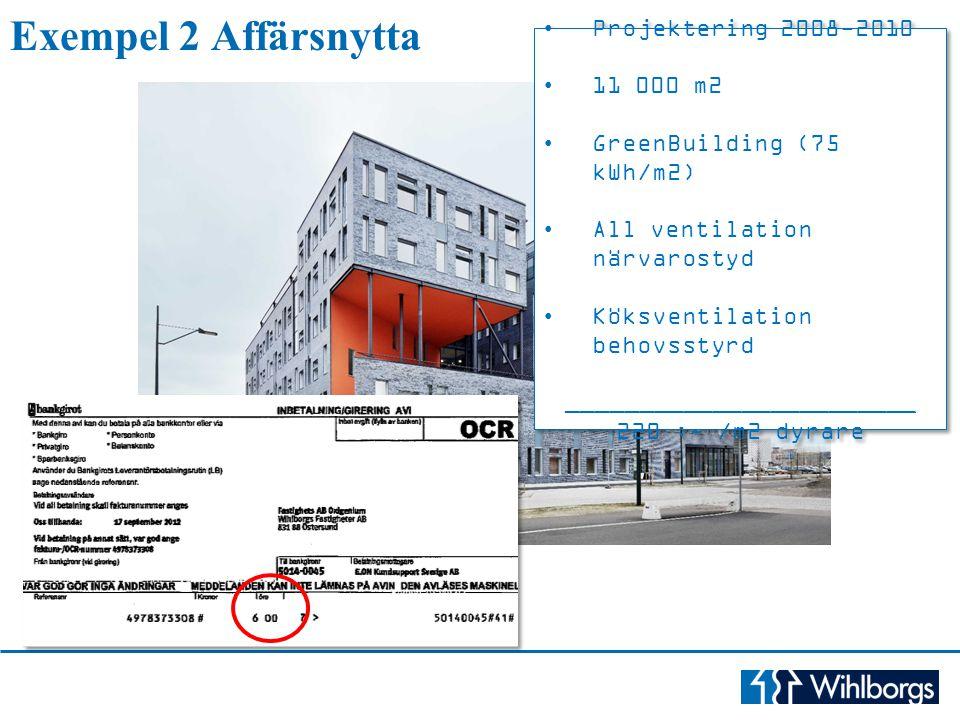 Projektering 2008-2010 11 000 m2 GreenBuilding (75 kWh/m2) All ventilation närvarostyd Köksventilation behovsstyrd ________________________ 220 :- /m2