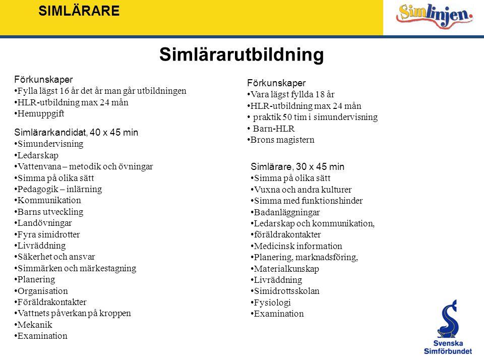 SIMLÄRARE Simlärarutbildning Simlärarkandidat, 40 x 45 min Simundervisning Ledarskap Vattenvana – metodik och övningar Simma på olika sätt Pedagogik –