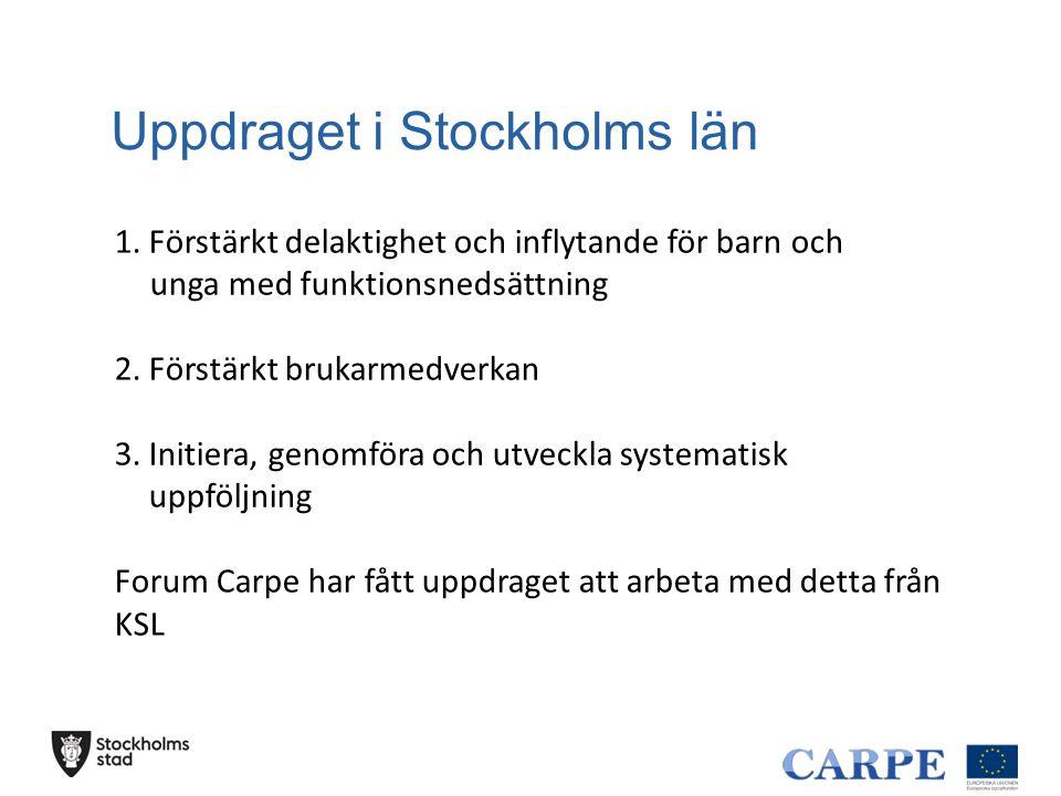 Uppdraget i Stockholms län 1. Förstärkt delaktighet och inflytande för barn och unga med funktionsnedsättning 2. Förstärkt brukarmedverkan 3. Initiera