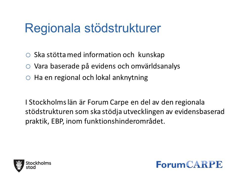 Regionala stödstrukturer o Ska stötta med information och kunskap o Vara baserade på evidens och omvärldsanalys o Ha en regional och lokal anknytning