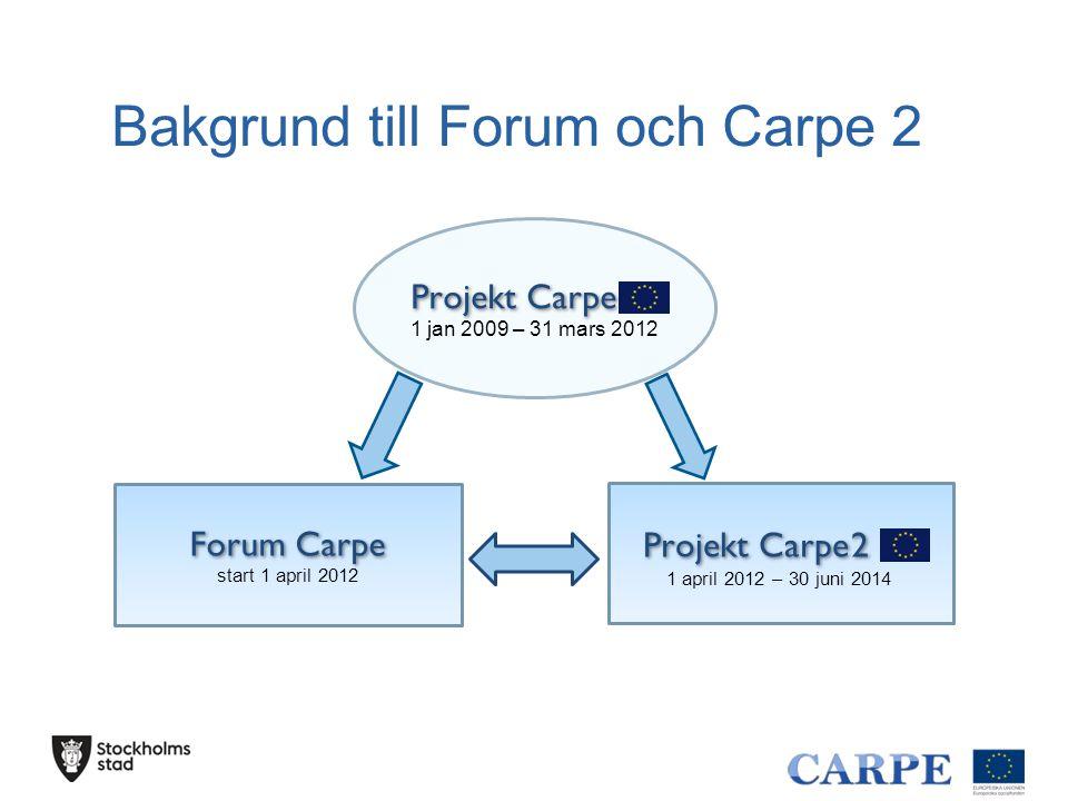 Forum Carpe start 1 april 2012 Projekt Carpe 2 1 april 2012 – 30 juni 2014 Projekt Carpe 1 jan 2009 – 31 mars 2012 Bakgrund till Forum och Carpe 2