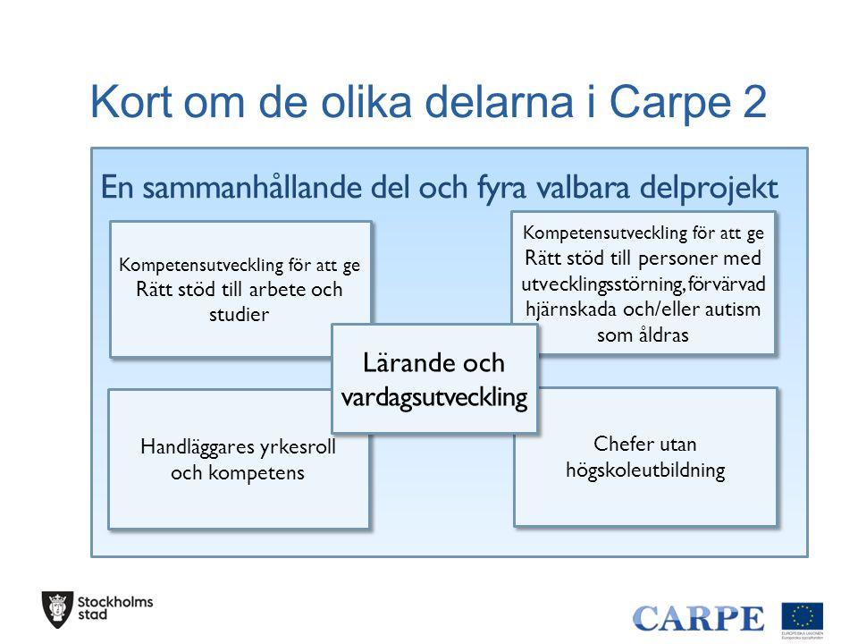 Kort om de olika delarna i Carpe 2 En sammanhållande del och fyra valbara delprojekt Chefer utan högskoleutbildning Handläggares yrkesroll och kompete