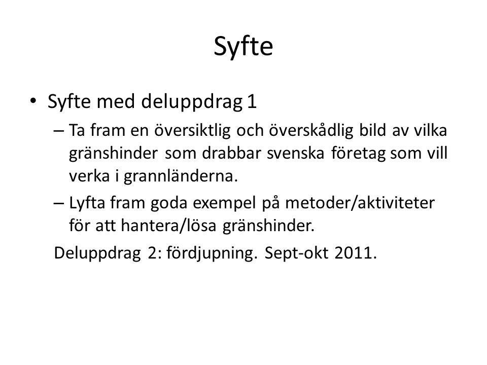 Syfte Syfte med deluppdrag 1 – Ta fram en översiktlig och överskådlig bild av vilka gränshinder som drabbar svenska företag som vill verka i grannländerna.
