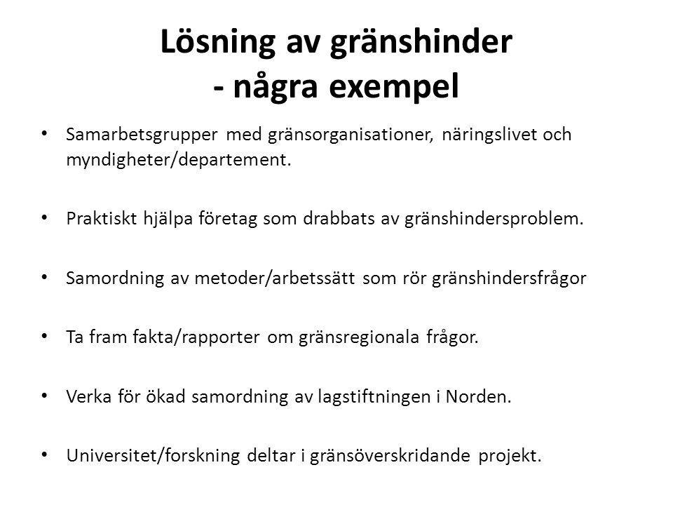 Lösning av gränshinder - några exempel Samarbetsgrupper med gränsorganisationer, näringslivet och myndigheter/departement. Praktiskt hjälpa företag so