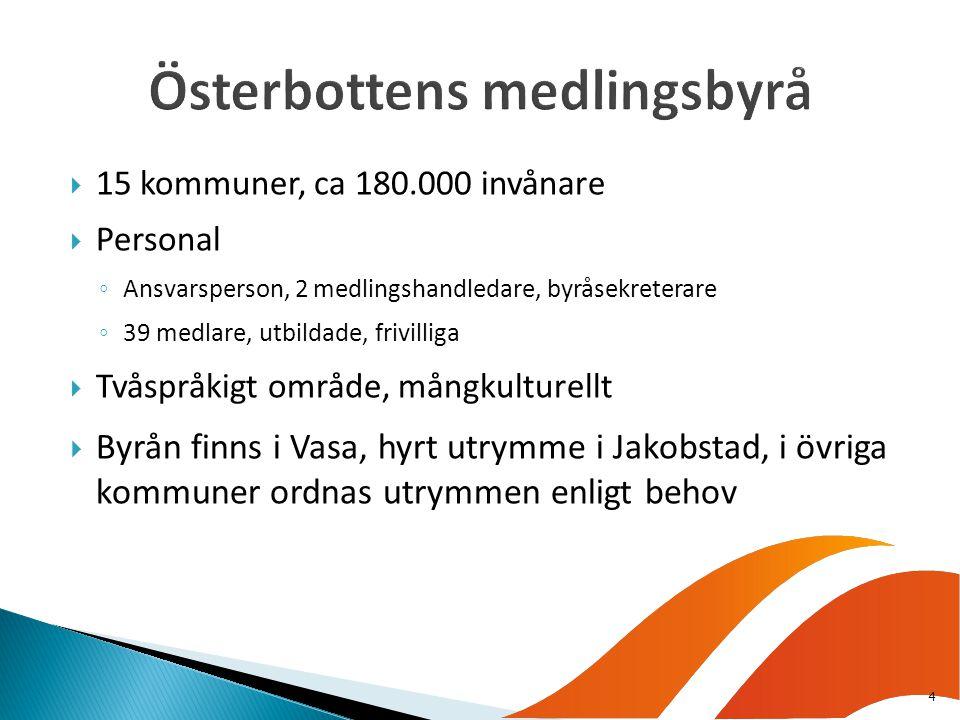  15 kommuner, ca 180.000 invånare  Personal ◦ Ansvarsperson, 2 medlingshandledare, byråsekreterare ◦ 39 medlare, utbildade, frivilliga  Tvåspråkigt område, mångkulturellt  Byrån finns i Vasa, hyrt utrymme i Jakobstad, i övriga kommuner ordnas utrymmen enligt behov 4