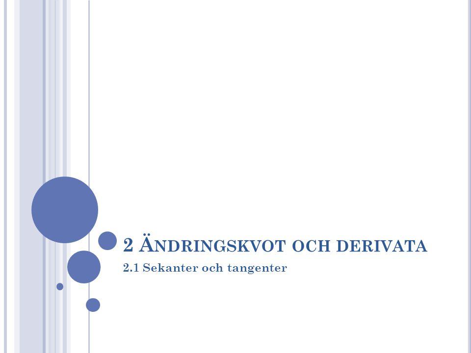 2 Ä NDRINGSKVOT OCH DERIVATA 2.1 Sekanter och tangenter