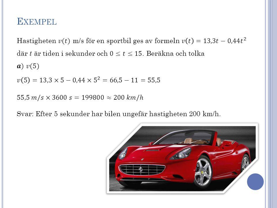 E XEMPEL Svar: Efter 5 sekunder har bilen ungefär hastigheten 200 km/h.