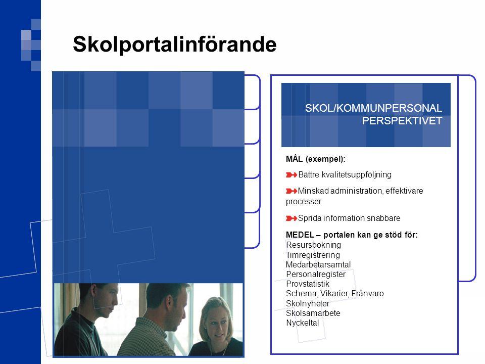 SKOL/KOMMUNPERSONAL PERSPEKTIVET MÅL (exempel): Bättre kvalitetsuppföljning Minskad administration, effektivare processer Sprida information snabbare